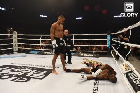 A Glory fighter wins by knock out (Photo by Glory)