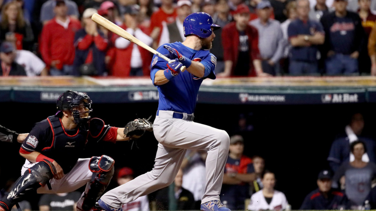 Chicago Cubs infielder Ben Zobrist hits an RBI double in the 10th inning against the Cleveland Indians in Game Seven of the 2016 World Series