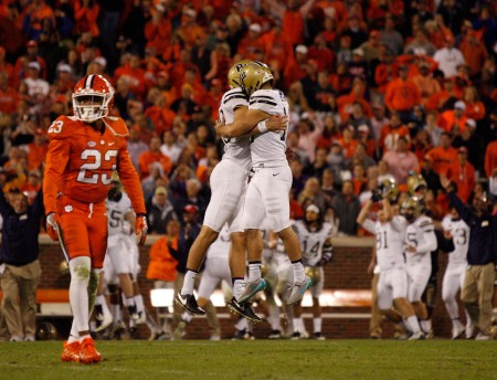 Chris Blewitt celebrates with a teammate after his game-winning field goal (Getty Images)