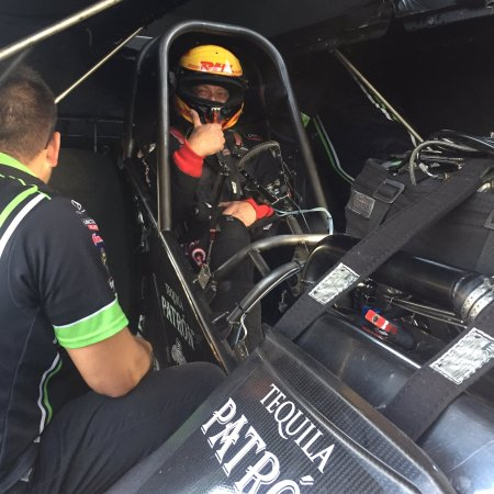 Jeff Arend getting ready for the run (Photo by Alexis DeJoria Racing)