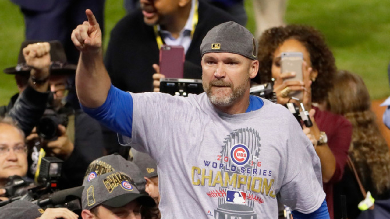 Former Chicago Cubs catcher David Ross celebrates the win after defeating the Cleveland Indians 8-7 in Game Seven of the 2016 World Series