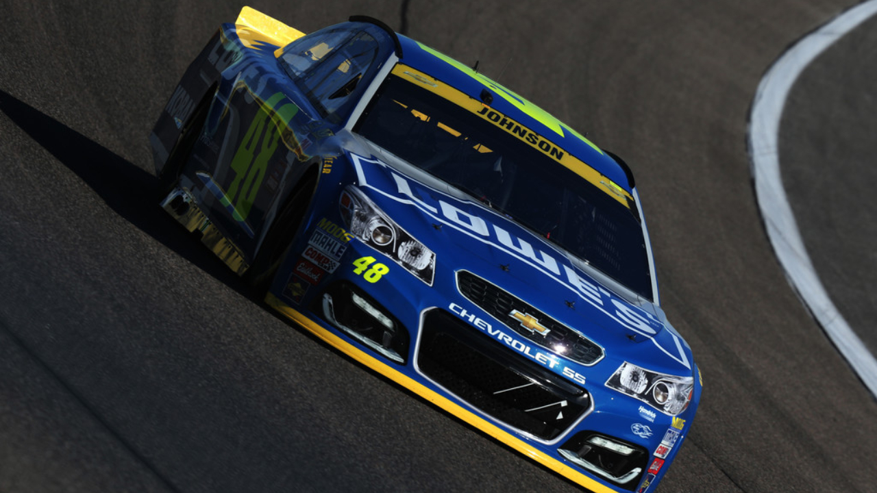 Lowe's Chevrolet driver Jimmie Johnson races during the NASCAR Sprint Cup Series Ford EcoBoost 400