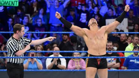 Mojo Rawley after winning the Battle Royal (Photo by the WWE)