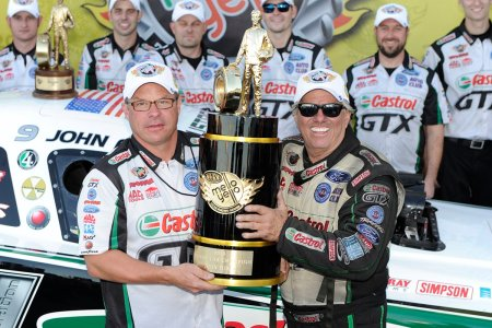 Jimmy Prock and John Force (Photo by the NHRA)