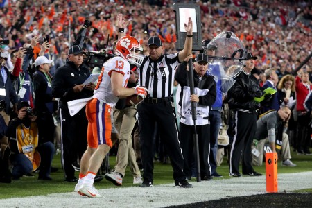 Hunter Renfrow following his two-yard game-winning touchdown reception (Getty Images)