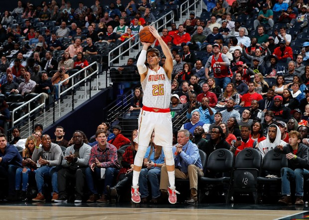 Former Atlanta Hawks sharpshooter Kyle Korver attempting a three-pointer against the Milwaukee Bucks