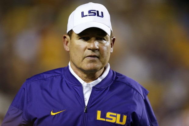 Former LSU Tigers head coach Les Miles takes the field before the second half against the Jacksonville State Gamecocks