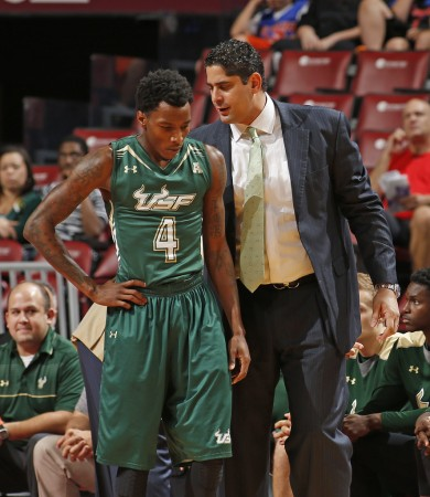 Bulls head coach Orlando Antigua talks to Corey Allen Jr. (Getty Images)