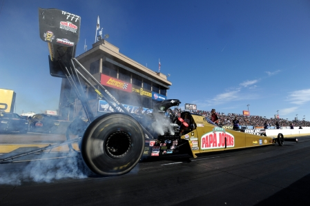 Leah Pritchett does a burnout (Photo by the NHRA)