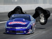 Jason Line with the parachutes out (Photo by the NHRA)