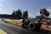 Leah Pritchett going off the starting line (Photo by the NHRA)