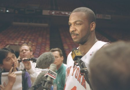 Power Forward Charles Oakley of the New York Knicks speaks with reporters. (Photo by Allsport)