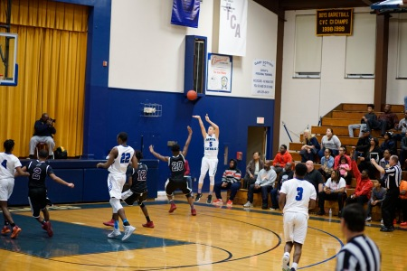 Trenton Catholic Academy's Chris LaBelle shooting a three-pointer (Photo by John Marshall)