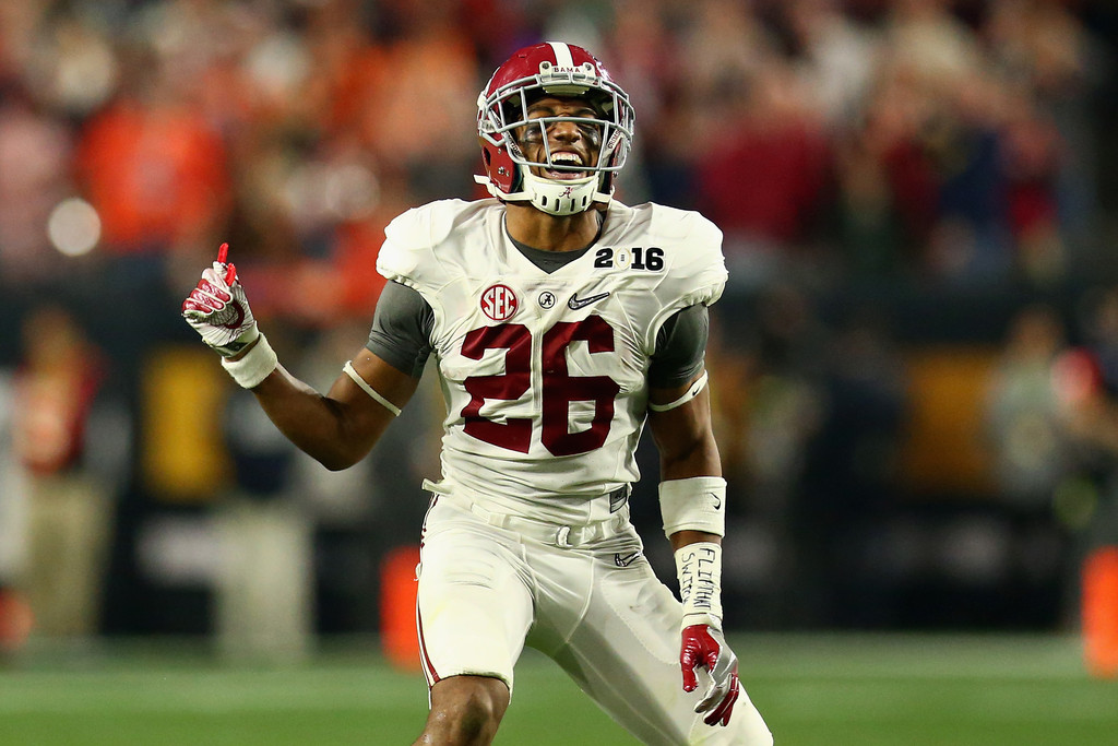 Alabama Crimson Tide cornerback Marlon Humphrey celebrates a play against the Clemson Tigers during the 2016 College Football Playoff National Championship Game