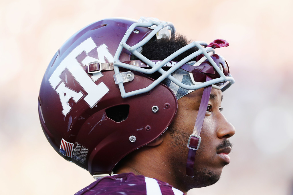 Former Texas A&M Aggies defensive end Myles Garrett waits near the bench in the second half against the Tennessee Volunteers