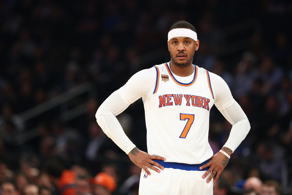 New York Knicks forward Carmelo Anthony looks on against the Toronto Raptors during their game