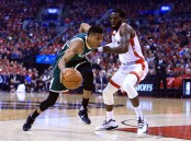 DeMarre Carroll guards Giannis Antetokounmpo (Getty Images)