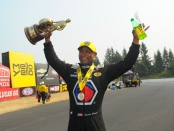 Antron Brown following his NHRA Northwest Nationals (Photo by the NHRA)