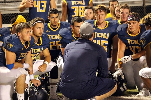 Casey Goff talking to his team at a recent scrimmage (Photo by the TCNJ Sports Information Department)