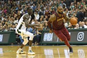 Milwaukee Bucks front court player Thon Maker guarding Cleveland Cavaliers superstar LeBron James (Getty Images)