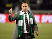Portland Timbers head coach Caleb Porter acknowledges the crowd against FC Dallas