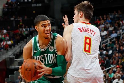 Celtics' Tatum seen in a walkingboot