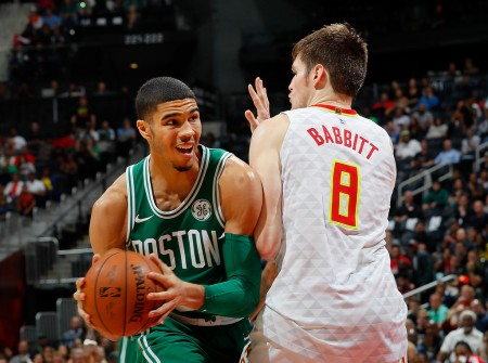 Jayson Tatum going up for a shot against Atlanta Hawks Luke Babbit (Getty Images)