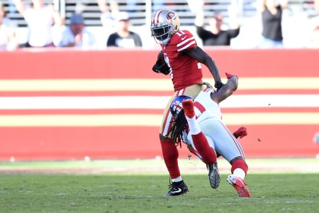 San Francisco 49ers wide receiver Marquise Goodwin beating New York Giants cornerback Janoris Jenkins on the long touchdown (Getty Images)