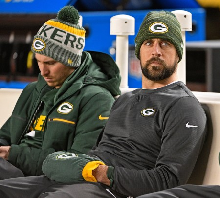 Green Bay Packers quarterback Aaron Rodgers on the bench (Getty Images)
