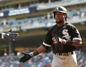 Alen Hanson is seen here in a 2017 photo as a member of the Chicago White Sox after celebrating a home run (Getty Images)