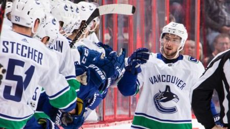 Vancouver Canucks center Alexander Burmistrov celebrates a goal against the Ottawa Senators in October 2017 (Getty Images)