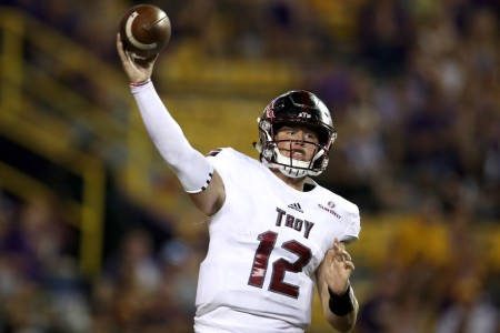Troy Trojans quarterback Brandon Silvers throwing a pass (Getty Images)