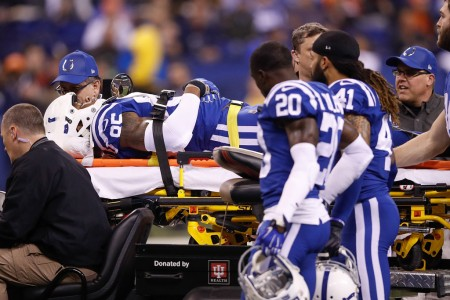 Indianapolis Colts tight end Brandon Williams being stretchered off the field on a cart (Getty Images)