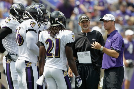 Chuck Pagano is seen here as the Baltimore Ravens defensive coordinator in 2011 (Getty Images)
