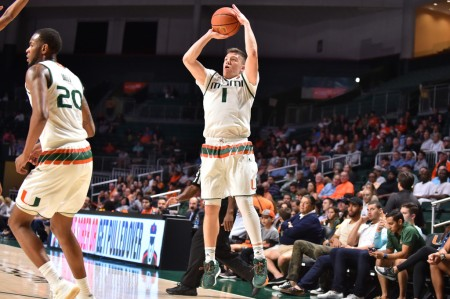 Miami Hurricanes guard Dejan Vasiljevic seen here shooting, who had 15 points in the losing effort on Saturday night (Getty Images)