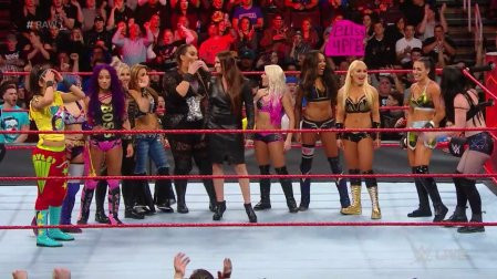 Raw Commissioner Stephanie McMahon making the announcement of the first-ever Women's Royal Rumble (Photo by the WWE)