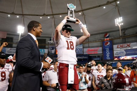 Temple Owls quarterback Frank Nutile holding his MVP trophy after the Bad Boy Mowers Gasparilla Bowl (Getty Images)