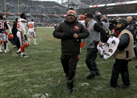 Cleveland Browns head coach Hue Jackson walking on the field after a loss to the Pittsburgh Steelers to go 0-16 on the season (Getty Images)