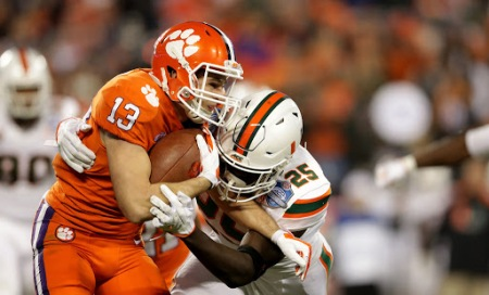Hunter Renfrow is seen here making a catch against the Miami (Fla.) Hurricanes. Renfrow caught the game-winning touchdown in the College Football Playoff last season (Getty Images)