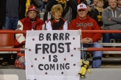 Fans predict that Scott Frost would be its head coach in a sign during its final home game of the season (Getty Images)