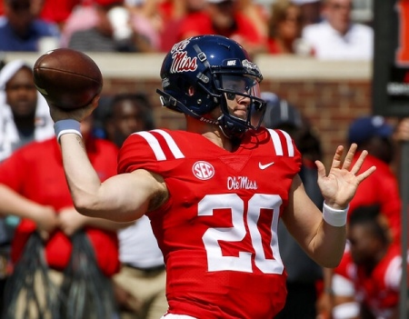 Former Ole Miss Rebels quarterback Shea Patterson warming up before a game (Getty Images)