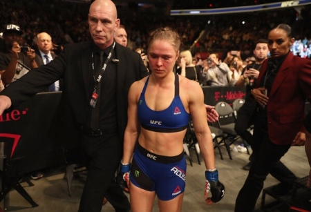 Ronda Rousey leaving her fight after a loss to Amanda Nunes in her final Octagon bout (Getty Images)