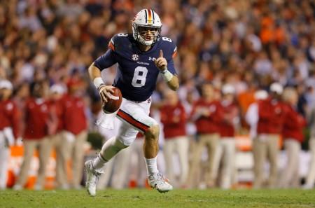 Auburn quarterback Jarrett Stidham rushing against the Alabama Crimson Tide (Getty Images)