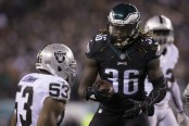 Philadelphia Eagles running back Jay Ajayi reacts in the first quarter of the Christmas night game against the Oakland Raiders (Getty Images)