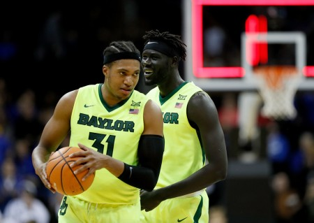 Jo Lual-Acuil Jr. and Terry Maston celebrates a Baylor win (Getty Images)