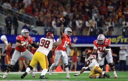 Ohio State Buckeyes quarterback J.T. Barrett throws a pass in the Cotton Bowl Classic against the USC Trojans (Getty Images)