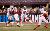 Ohio State Buckeyes quarterback J.T. Barrett throwing a pass against the Wisconsin Badgers (Getty Images)