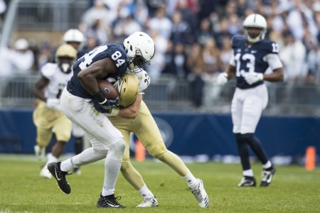 Penn State Nittany Lions wide receiver Juwan Johnson making a reception against the Akron Zips this season (Getty Images)