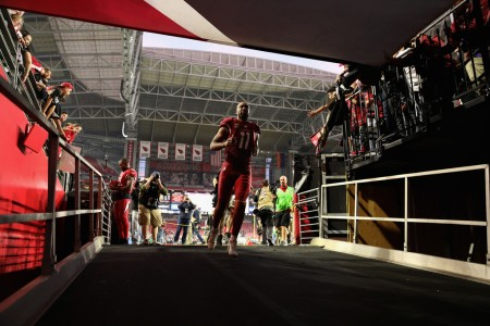 Arizona Cardinals wide receiver Larry Fitzgerald running into the tunnel after the team's win over the New York Giants (Getty Images)
