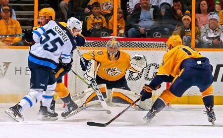 Winnipeg Jets center Mark Scheifele takes a shot against the Nashville Predators (Getty Images)